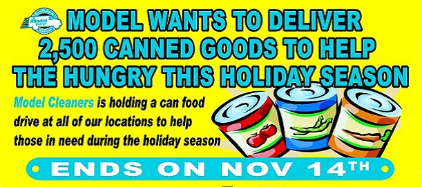 Model Cleaners Canned Food Drive 2015